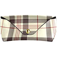ATONO Black Red And Beige Plaid Tartan Eyewear Bag Sunglasses Goggles Eyeglasses Portable PU Leather Hard Glasses Cases Holders Microfiber for Girls Ladies Womens Mens