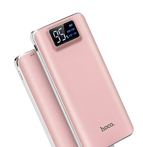 hoco. 10000mAh モバイルバッテリー 軽量 薄型 大容量 USB2ポート 2台同時充電可能 2.1A iphone スマホ 充電器 LEDライト付き ・黒 急速充電器 白/黒 選択可 (ローズゴールド)