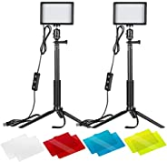Neewer 2-Pack Dimmable 5600K USB LED Video Light with Adjustable Tripod Stand and Color Filters for Tabletop/L