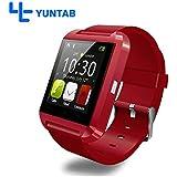 YUNTAB(JP) 多機能腕時計 U8 smart watch Bluetooth スマート ウォッチ 着信お知らせ/置き忘れ防止/歩数計/高度計/睡眠質トラックスマート ウォッチ 1.44インチ 超薄型フルタッチ ウォッチ RED