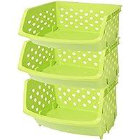 HAOUN 3パック入り 収納ボックス 果物 野菜 キッチン雑貨収納バスケットシェルフ プラスチック 多機能 積み重ね可能 雑物 書類 衣類 キッチン バスルーム