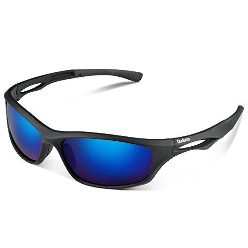 Duduma 偏光レンズ メンズスポーツサングラス 超軽量 UV400 紫外線をカット スポーツサングラス/ 自転車/釣り/野球/テニス/ゴルフ/スキー/ランニング/ドライブ T90 (ブラックマットフレーム/ブルーレンズ )