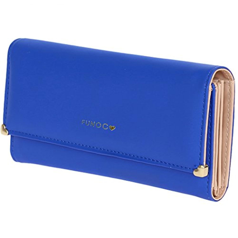 MIOIM 長財布 レディース PUレザー 三つ折り 小銭入れ クレジットカード入れ クラッチ財布 コインケース 大容量 可愛い ハート型飾り ウォレット (ブルー)