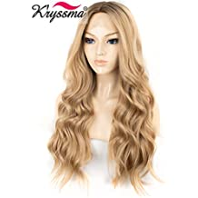 K'ryssma Synthetic Ombre Blonde Lace Front Wig Brown Roots Half Hand Tied Natural Wavy Synthetic Wigs Blonde Colour Middle Part Long Lace Front Blonde Wigs for Women 22 Inches Glueless Heat Resist