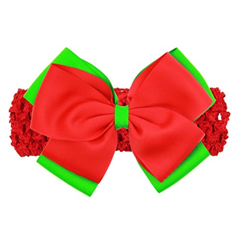 Zhhlinyuan ベビー小物 Kids Christmas Stretch Ribbon Bowknot Headband Baby Girls Toddler Hairband ヘアアクセサリ for Photography Pops Costume Party