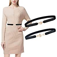 Talleffort 2 Pack Women Vintage Elastic Stretchy Alloy Buckle Skinny Waist Cinch Belt for Girls