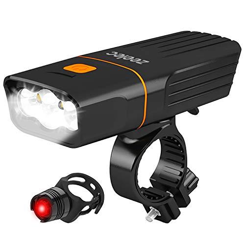 自転車 ライト Zeelec RB6 USB充電式 5200mAh大容量 自転車ヘッドライト 1200ルーメン高輝度 IPX6防水防振 ロードバイク ライト 3モード点灯懐中電灯 テールライト付き 夜のサイクリング、ウォーキング、キャンプ、釣りに最適