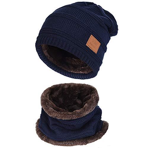 VBIGER 暖かい ニット帽子&マフラー キャップ セット ビーニーキャップ 防寒 保温 スキー スポーツ アウトドア 冬 (B-ダークブルー)