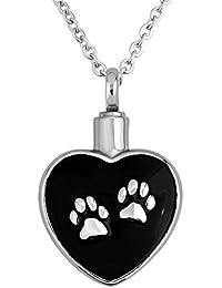 CharmsstoryペットPaw子犬犬のブラックハートUrnネックレス灰Cremationメモリアル記念品ペンダント
