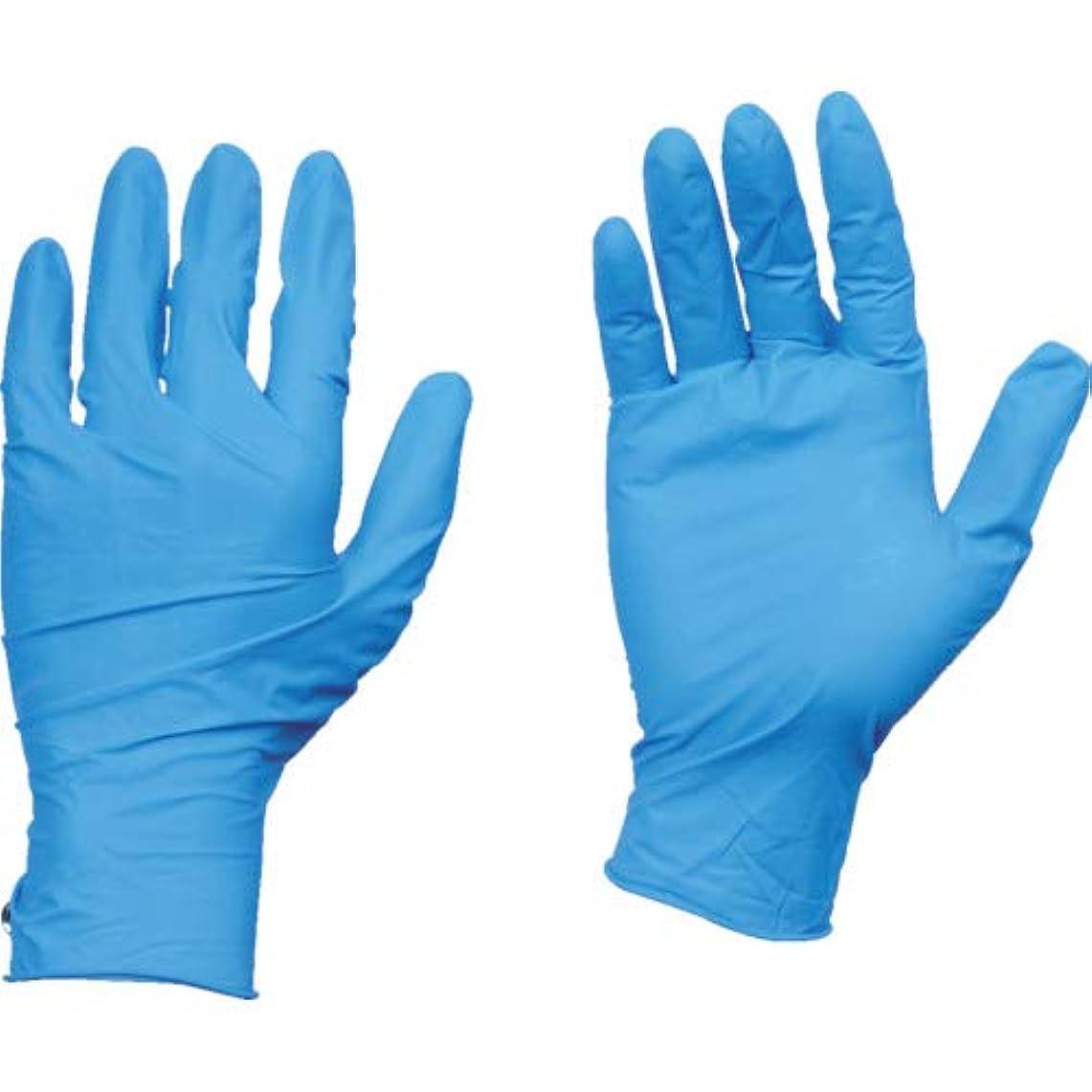 呼吸地上の市民TRUSCO(トラスコ) 10箱入り 使い捨て天然ゴム手袋TGワーク 0.10 粉付青L TGPL10BL10C