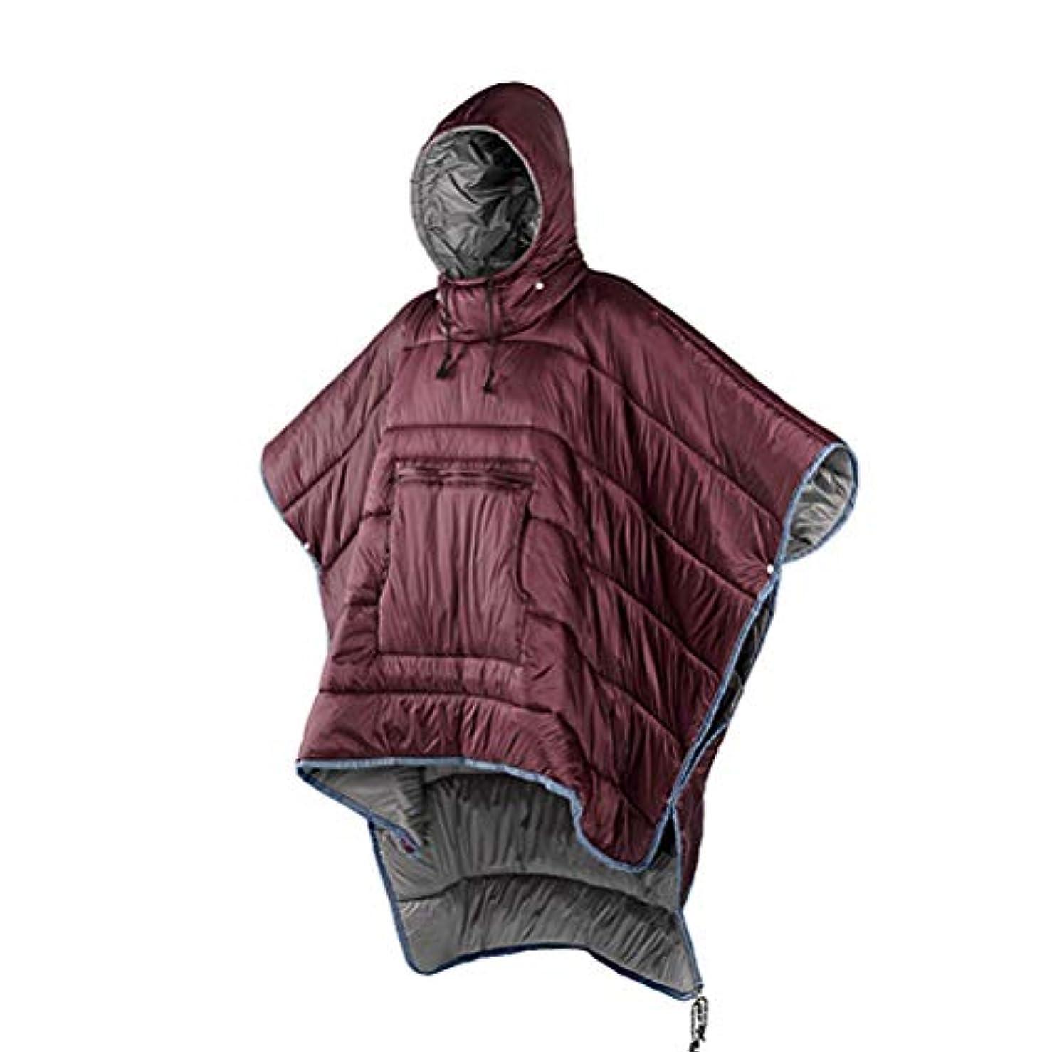 深く大使精度大人用ウェアラブル寝袋 - パーカーブランケット、ポータブル屋外本町ポンチョ暖かいカバーコート、寒い天候用の防風防水クロークケープ、家庭用またはオフィス用