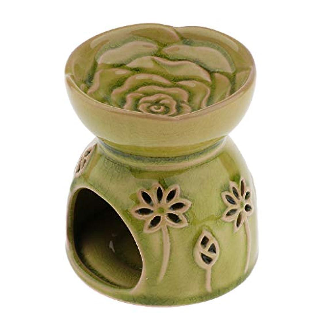 妊娠したスローガンとティームアロマ エッセンシャルオイル バーナー ディフューザー セラミック 装飾 置物 実用的 全2色 - 緑