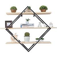 Super Kh® 鍛鉄製の木製の壁に取り付けられたラック壁装飾フレームユニットストレージディスプレイラック創造的な本棚ディスプレイラック家族のストレージラック花棚シェルフワードシェルフ100x80x23cm *