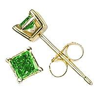 パリックスプリンセスカットグリーンダイヤモンドスタッドイエローゴールドのAAA品質( 0.05ct )