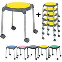ニシキ工業 6脚セット 丸椅子 スツール スタッキングチェア キャスター付き CUPPO 背もたれなし キャスター脚 グリーン