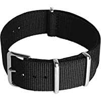 CampTeck U6947 - Nylon Replacement Military NATO Watch Strap (Widths 18|20|22|24mm) with Stainless Steel Pin Buckle for Spring Bar Watches - Black - 20mm