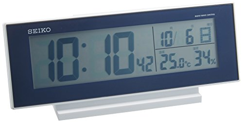セイコー クロック 目覚まし時計 常時点灯 電波 デジタル カレンダー 温度 湿度 表示 夜でも見える 濃青 メタリック SQ762L SEIKO