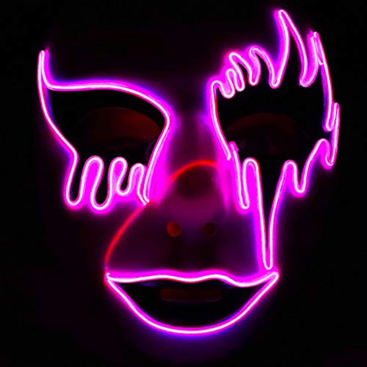 プランターでる通知するLEDイルミネーションマスクホラーハロウィーンカーニバル雰囲気小道具ホラー怖いモノクロマスクダンスパーティーパフォーマンスマスク