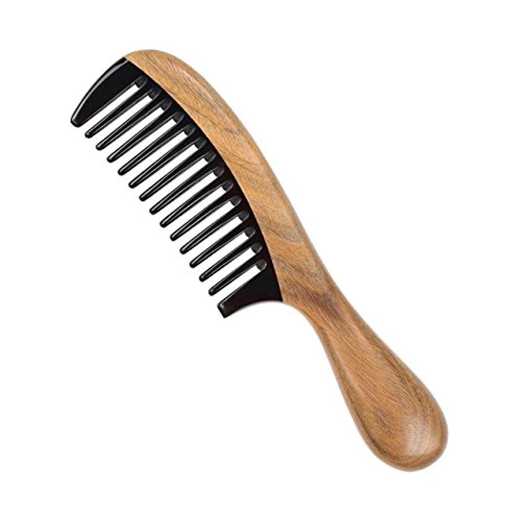 アンケートパンチこしょうウッドコームファインティースウッドコーム、グリーンサンダルウッドアンチスタティックデタングリングホーンコーム女性、男性と女の子、ヘアコーム、太くて、波打ちと波打つ髪のためNewsilkストア
