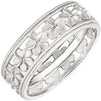 CloseoutWarehouse Sterling Silver Matte Plumeria Eternity Flower Ring (Sizes 4-13)