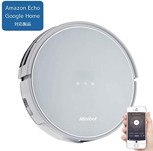 【Amazon Echo/Google Home対応製品】minibot スマートロボット掃除機 X5 WiFi接続 スマホアプリ制御 自動充電 吸引 水拭き 4つの清掃モード リモコン 充電台付属 Alexa対応 ミニボット 【日本正規代理店品】
