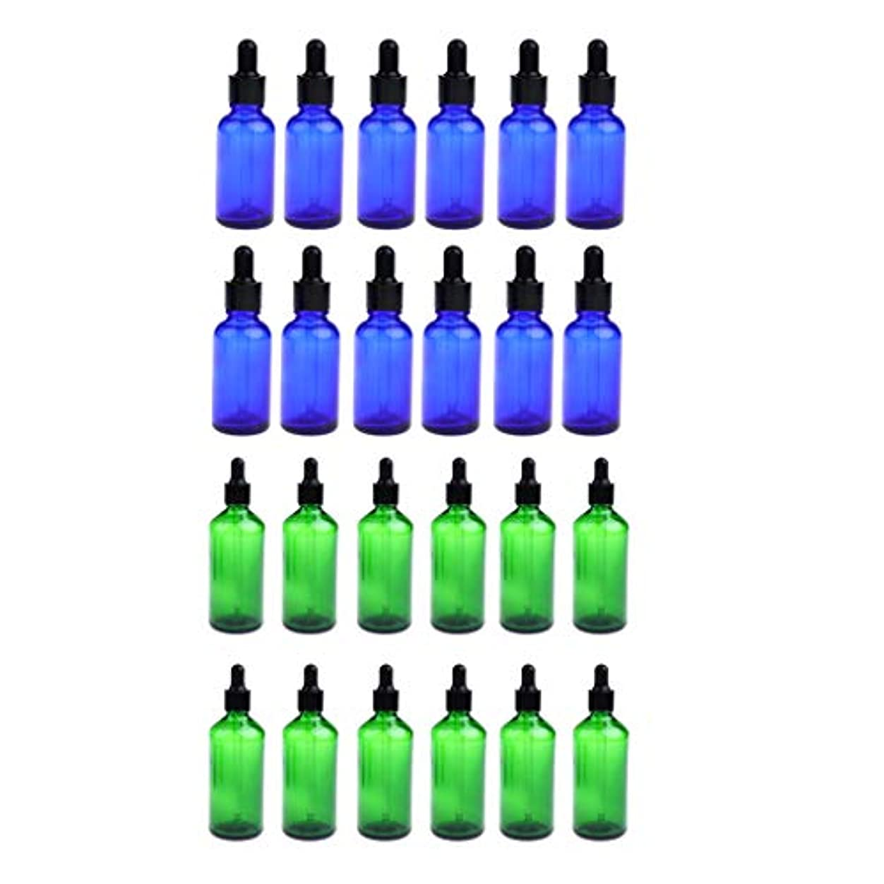コンパイルサーフィンシェトランド諸島24個 ガラス瓶 アロマボトル 空のボトル 精油瓶 遮光ビン エッセンシャルオイル 詰替え 液体容器 30ミリ 緑+青