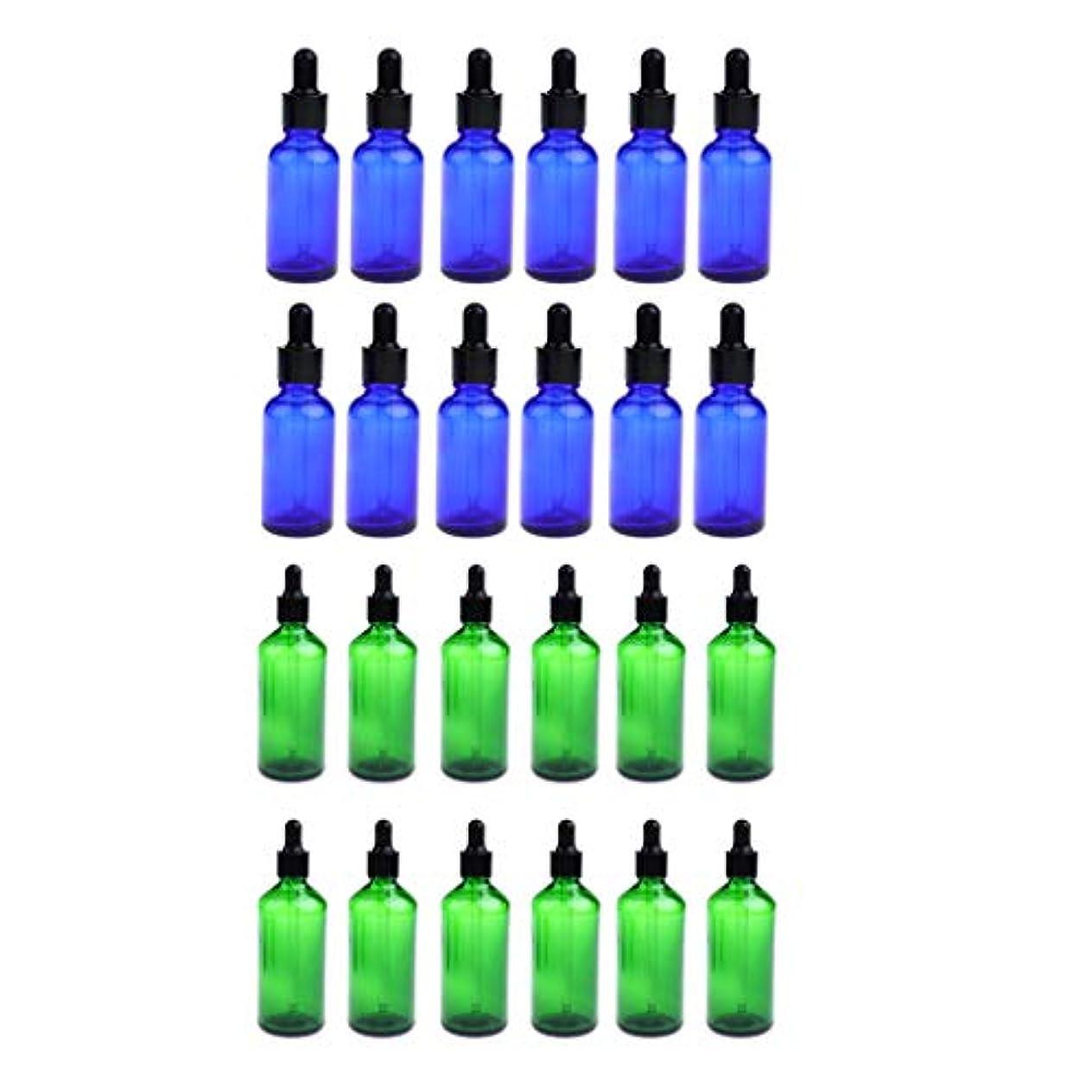 夕方賛辞ドリル24個 ガラス瓶 アロマボトル 空のボトル 精油瓶 遮光ビン エッセンシャルオイル 詰替え 液体容器 30ミリ 緑+青