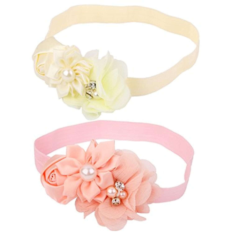 Dovewill ベビー 女の子 造花 お花の飾り 写真撮影 道具 ヘアバンド ターバン 髪飾り ヘアアクセサリー