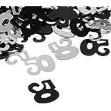amleso 紙吹雪 紙ふぶき 数字50 結婚式 記念日 パーティー飾り 誕生日 祝い プラスチック 装飾 DIY 1袋セット