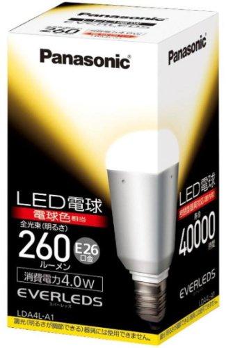 パナソニック EVERLEDS LED電球(密閉型器具対応・E26口金・一般電球形・電球20W相当・260ルーメン・電球色相当)LDA4LA1