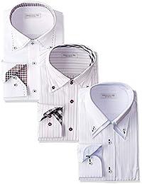[ドレスコード101] ワイシャツ 長袖3枚セット (シーンで選べる6パターン 形態安定生地) スリムサイズあり シャツサイズ(スリムS スリムM スリムL M L LL 3L 大きいサイズ) 白 青 ピンク ブルー SHIRT-Z3SET1 メンズ