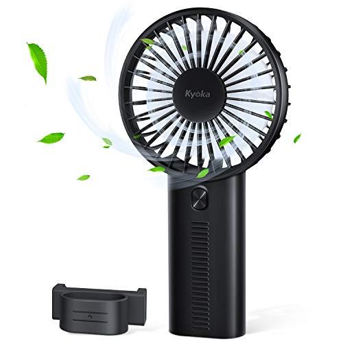 【2019最新版 3in1機能】携帯扇風機 小型 静音 USB扇風機 KYOKA 手持ち扇風機 7枚羽根 手持ち式ファン 3段階風量調節 スタンド機能付き 持ち運び便利 卓上扇風機 クリップ式 熱中症対策 旅行 花火大会 会社 野球観戦 (ブラック)