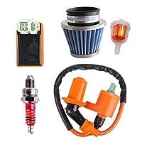 Semoic Semoic(R) GY6コイルレーシングエアフィルターCDI点火、50cc 125cc 150cc 139qmb 152qmi 157qmj用、燃料フィルターエンジン付きAtvモペットスクーターGo Karts部品