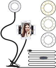 """3.5"""" LED Selfie Ring Light Cell Phone Tripod Stand Flexible Arm Mount Stick Holder Clip for Desk,3 Light"""