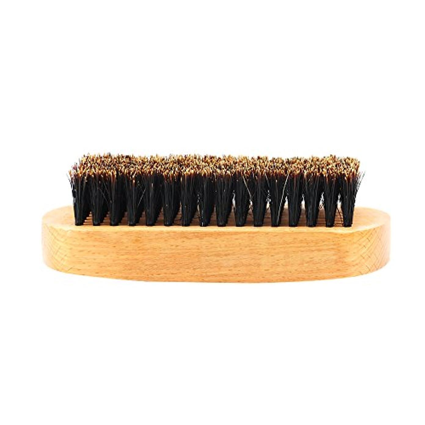 スチールでる溶接髭ブラシ 男性 ひげ剃り 天然木ハンドル ひげそり グルーミング 2タイプ選べる - #1