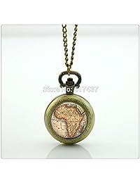 アフリカの地図の懐中時計型のマップのジュエリーミニグラスロケットネックレスアンティーク懐中時計ネックレス