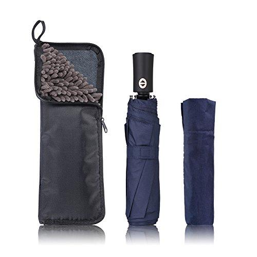 KUMFI 2面超吸水 傘カバー付き 折りたたみ傘 自動開閉 大きい 軽量 ワンタッチ 耐風撥水 晴雨兼用 メンズ レディース 折り畳み傘 UVカット 梅雨対策 携帯便利 (ブルー)