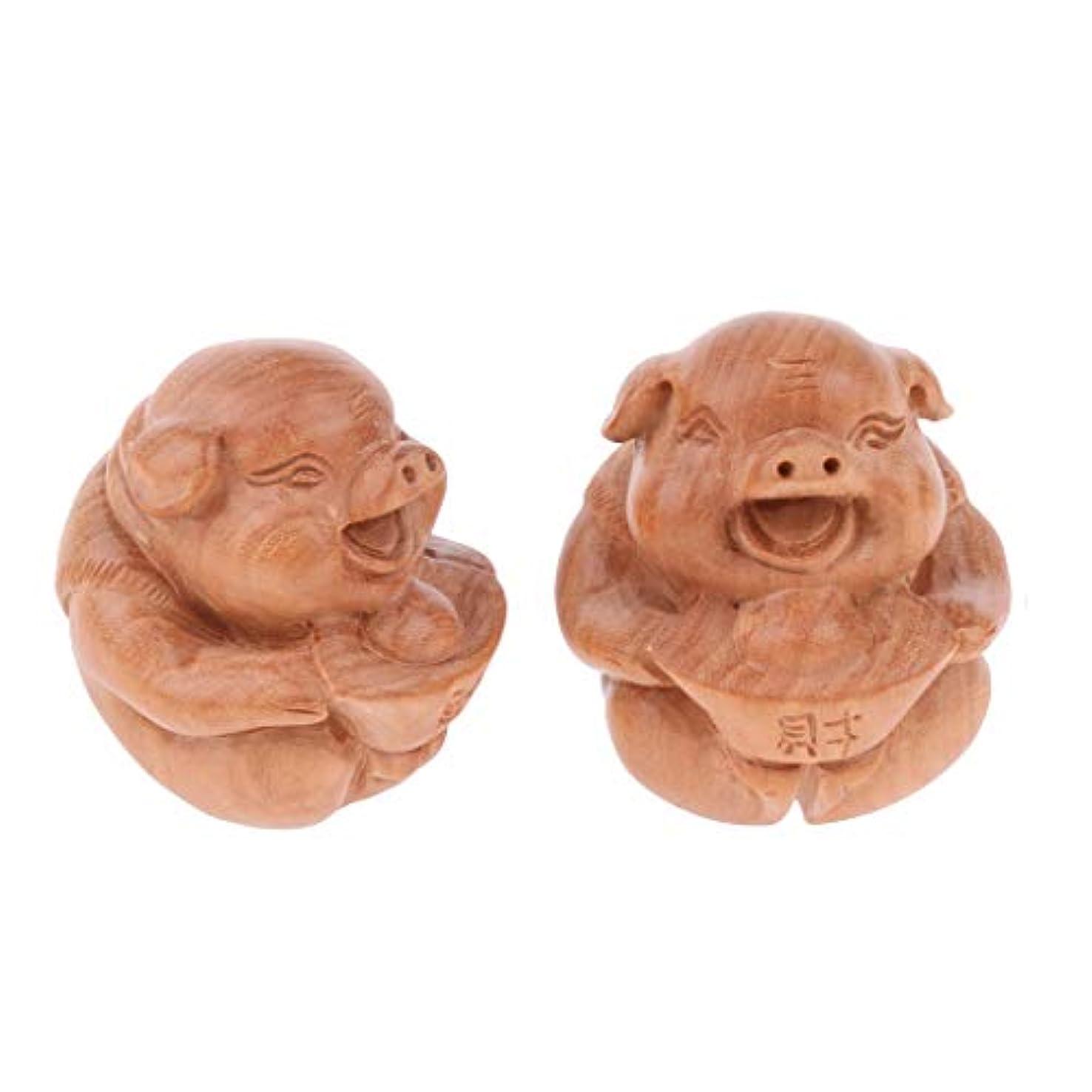 繕う居住者辞書マッサージボール 指エクササイズ 1ペア 木製 可愛い 豚