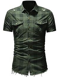 Keaac メンズクラシックフィット半袖チェックシャツボタンダウンデニムシャツ