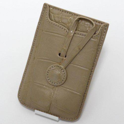 【各種スマホ対応 iPhone5sも】本クロコダイル皮革オリジナルスマートフォンケース (ベージュ)