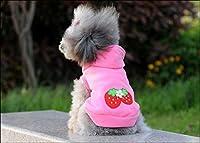 Bajilaペットの子犬ラブリー犬ストロベリーパーカーアパレル暖かいコートジャケット服の衣装:ピンク、L