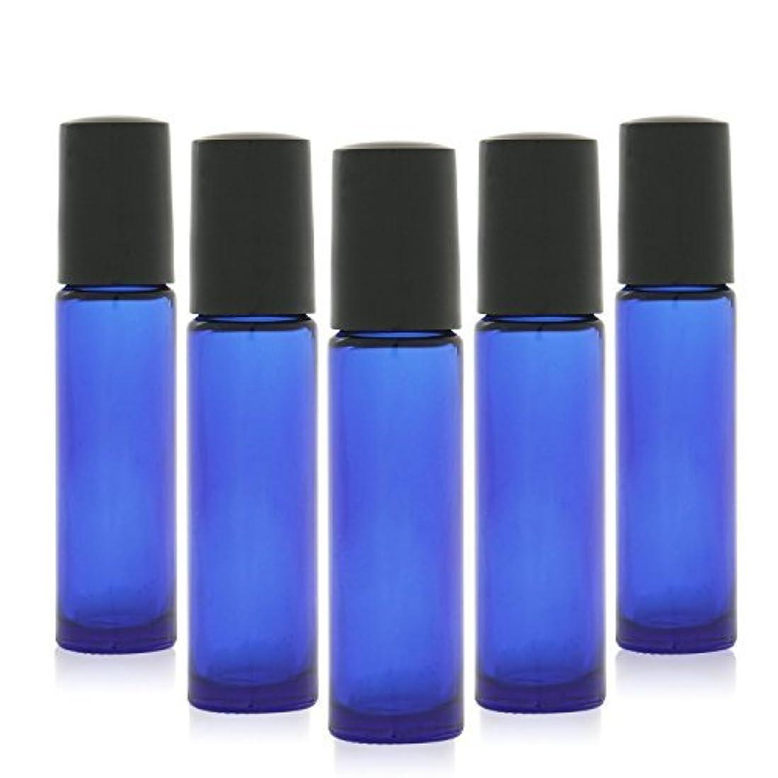 斧おなじみの湿った12 pcs, 10ml Cobalt Blue Glass Roller Bottles with Stainless Steel Roller Ball for Essential Oil - Includes 12 Pieces Labels, Essential Oils Opener, 2 Droppers [並行輸入品]