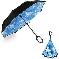 YOKITOMO 長傘 逆さ傘 逆折り式 耐風 丈夫 撥水 UVカット 自立可能 晴雨兼用 車用 (青空)母の日人気ギフト