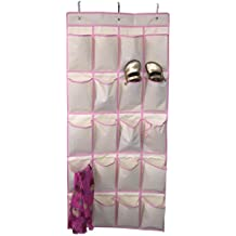 Closet Complete High Quality 20 Pocket Over The Door Shoe Organizer, Pink