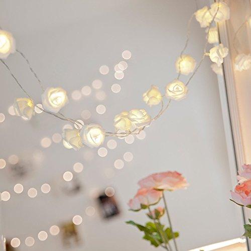 Egomall LEDストリングライト ローズ フラワー イルミネーション 2m 20灯 結婚式・パーティー・クリスマス装飾 ガーデンの飾り ジュエリーライト フェアリーライト YUN-XI (ウォームホワイト)