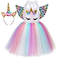 Tutu Dreams 3pcs Sequin Unicorn Dress with 3 Colors Wings and Headband for Girls 1-10Y Birthday