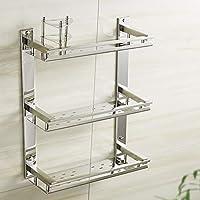 浴室用棚ステンレス鋼3層化粧品ラック歯ブラシマウスウォッシュホルダー浴室用棚タオル掛け (Size : 31cm/12.2inch)