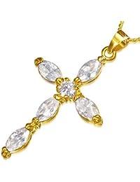 Fashion Alloy Yellow Gold-Tone Religious Cross White CZ Pendant Necklace