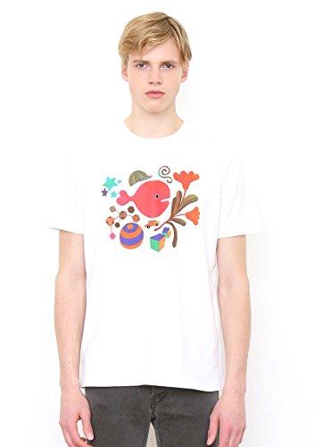 (グラニフ) graniph コラボレーションTシャツ/きんぎょがにげたカバー (五味太郎) (ホワイト) S