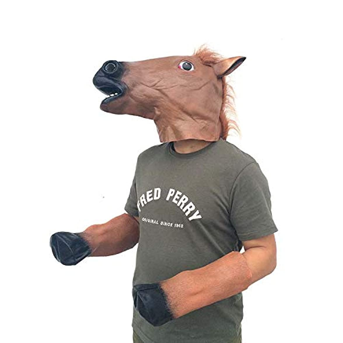 和解するキャップ解き明かすハロウィンパーティーラテックス馬の頭は、動物の頭部カバーブラウン馬のヘッドセットホースシュー馬の足をマスクマスク